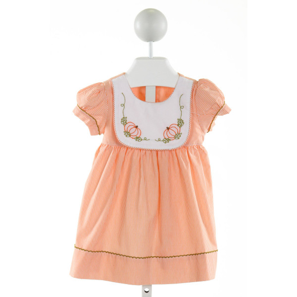 SWEET DREAMS  ORANGE  STRIPED EMBROIDERED DRESS