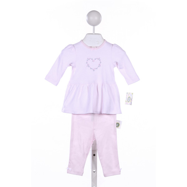 LITTLE ME 2 PIECE PINK STRIPE TOP WITH HEART EMBROIDERY WITH MATCHING LEGGINGS