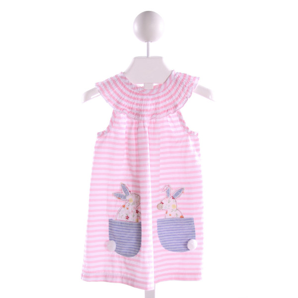 MUD PIE  PINK  STRIPED EMBROIDERED KNIT DRESS WITH RUFFLE