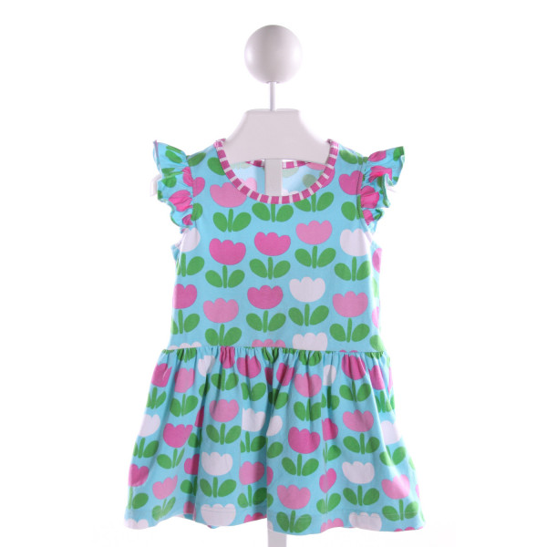 KELLY'S KIDS  MULTI-COLOR  FLORAL  KNIT DRESS WITH RUFFLE