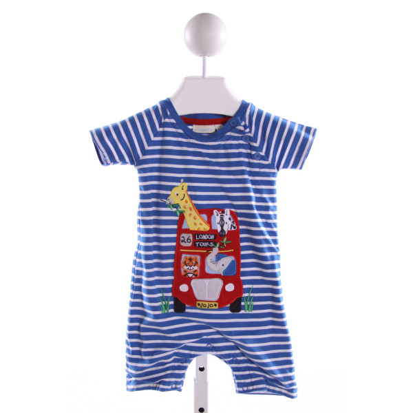 JOJO MAMAN BEBE  BLUE  STRIPED EMBROIDERED KNIT SHORTALL
