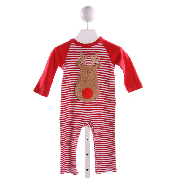 MUD PIE  RED  STRIPED EMBROIDERED LONGALL/ROMPER