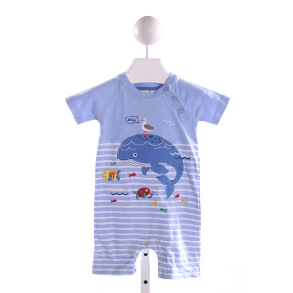 JOJO MAMAN BEBE  LT BLUE  STRIPED EMBROIDERED JOHN JOHN/ SHORTALL
