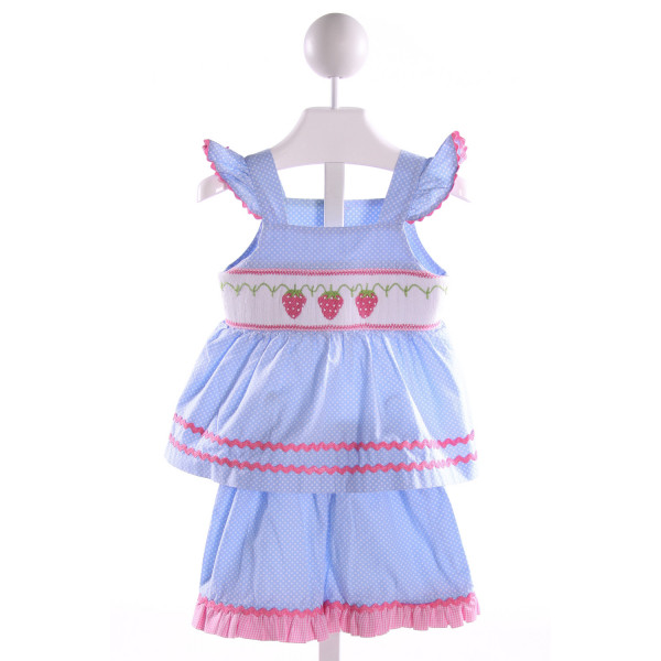 SMOCKED AUCTIONS  LT BLUE  POLKA DOT SMOCKED 2-PIECE OUTFIT WITH RIC RAC