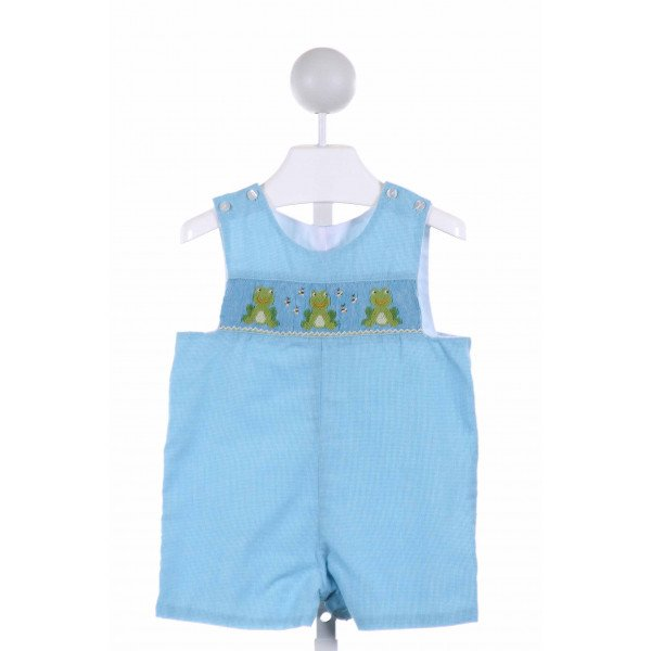 CLAIRE AND CHARLIE  LT BLUE  GINGHAM SMOCKED JOHN JOHN/ SHORTALL
