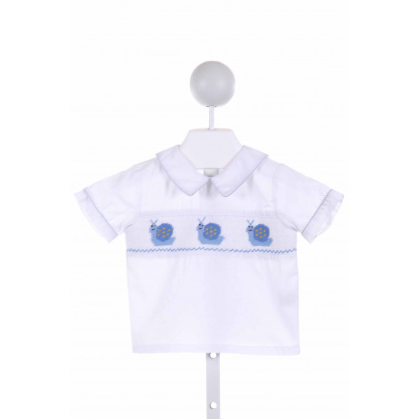 ROYAL CHILD  WHITE  GINGHAM SMOCKED CLOTH SS SHIRT