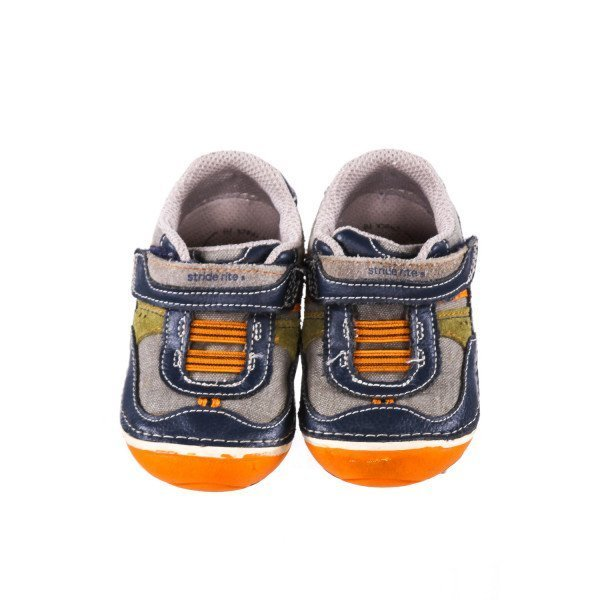 STRIDE RITE GRAY MULTI-COLOR SHOES WITH VELCRO STRAP *SIZE 5.5W, GUC - SCUFFING AND WEAR