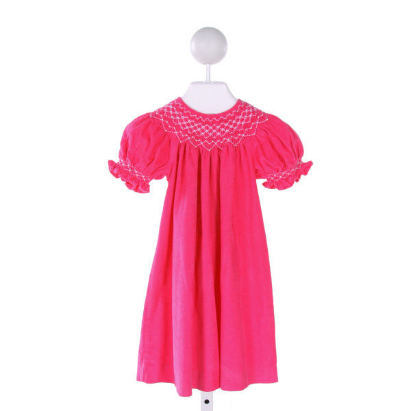MOM & ME  HOT PINK CORDUROY  SMOCKED DRESS WITH RUFFLE