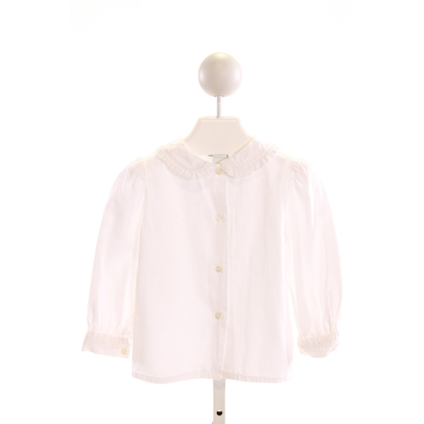THE PLANTATION SHOP  WHITE    CLOTH LS SHIRT WITH RUFFLE