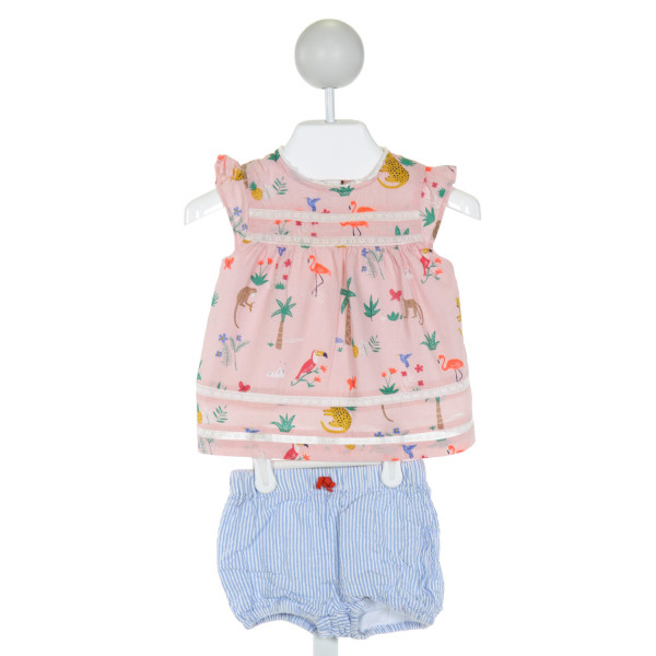 BABY BODEN  PINK   PRINTED DESIGN CLOTH SS SHIRT WITH RUFFLE AND SHORT SET