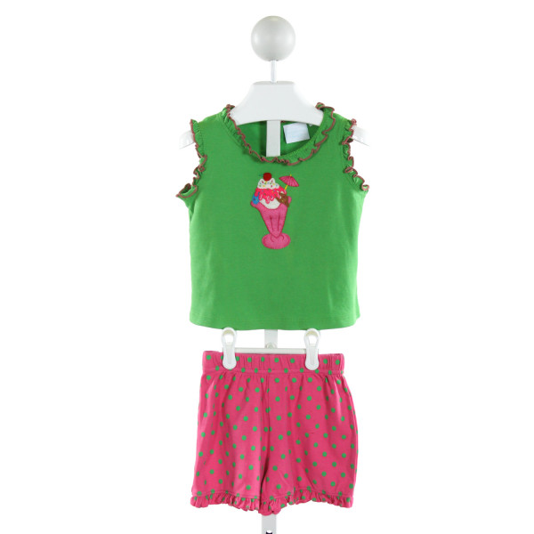 STITCHY FISH  GREEN  POLKA DOT EMBROIDERED 2-PIECE OUTFIT WITH RUFFLE