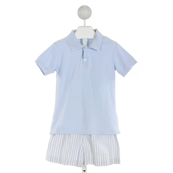 SHRIMP & GRITS LT BLUE SEERSUCKER STRIPED 2-PIECE OUTFIT