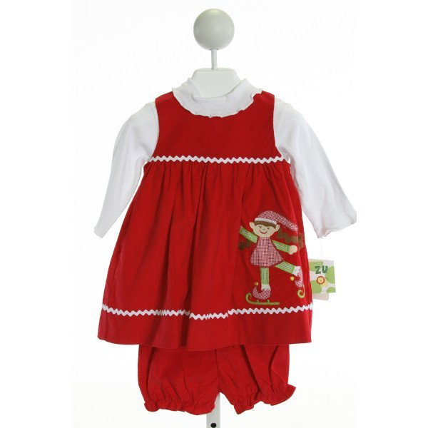 ZU  RED CORDUROY  EMBROIDERED 2-PIECE OUTFIT WITH RIC RAC