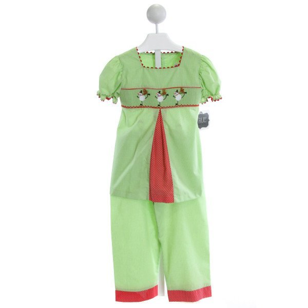 TRUE  LT GREEN  MICROCHECK SMOCKED 2-PIECE OUTFIT WITH RIC RAC