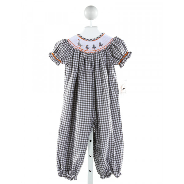 THE SMOCKLING  GRAY  GINGHAM SMOCKED ROMPER WITH RUFFLE
