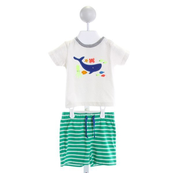 BABY BODEN  IVORY  STRIPED EMBROIDERED 2-PIECE OUTFIT