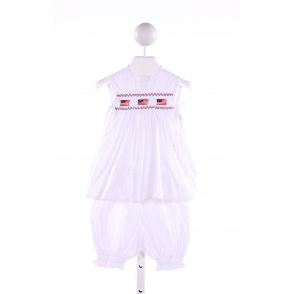 FANTAISIE KIDS  WHITE   SMOCKED 2-PIECE OUTFIT WITH RUFFLE