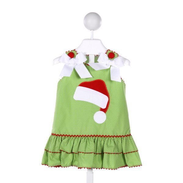 STELLYBELLY  GREEN  POLKA DOT APPLIQUED DRESS WITH RIC RAC