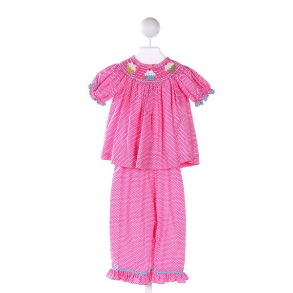 EVERYDAY HEIRLOOM  PINK  POLKA DOT SMOCKED 2-PIECE OUTFIT WITH RUFFLE