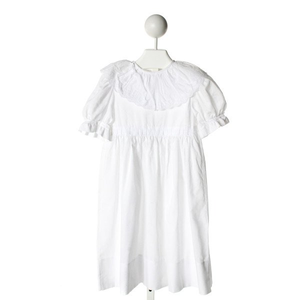 SWEET IMPRESSIONS  WHITE   EMBROIDERED DRESS WITH RUFFLE