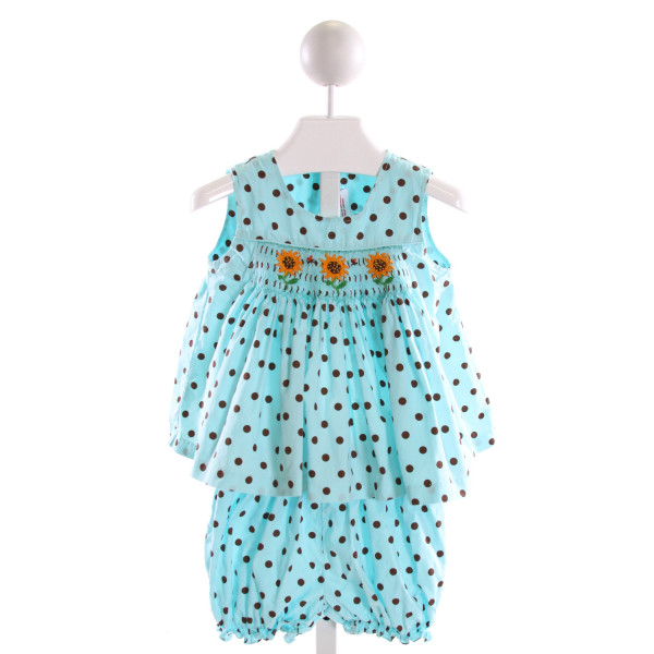 MOM & ME  MULTI-COLOR  POLKA DOT SMOCKED 2-PIECE OUTFIT WITH RUFFLE
