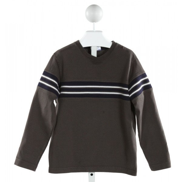 HANNA ANDERSSON  GRAY  STRIPED  KNIT LS SHIRT
