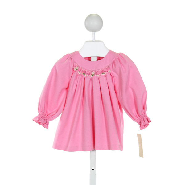 FANTAISIE KIDS  PINK   SMOCKED KNIT LS SHIRT WITH RUFFLE