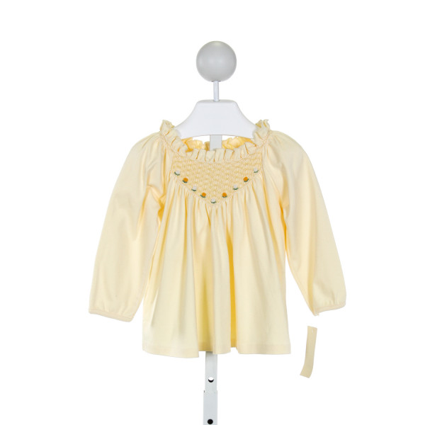 FANTAISIE KIDS  PALE YELLOW   SMOCKED KNIT LS SHIRT WITH RUFFLE