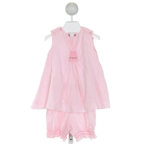 FANTAISIE KIDS  PINK   SMOCKED 2-PIECE OUTFIT WITH RUFFLE