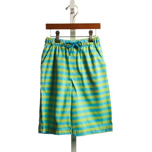CHEZ AMI TURQUOISE AND GREEN STRIPE KNIT SHORTS NWT