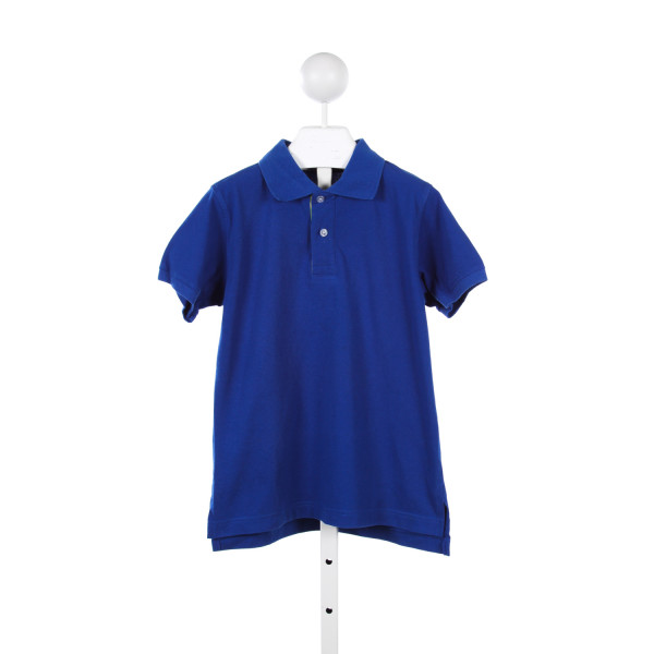 KELLYS KIDS BLUE KNIT POLO WITH PLAID TRIM *SIZE 7-8