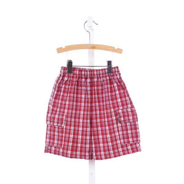 COTTON BLU RED AND BLUE PLAID SHORTS