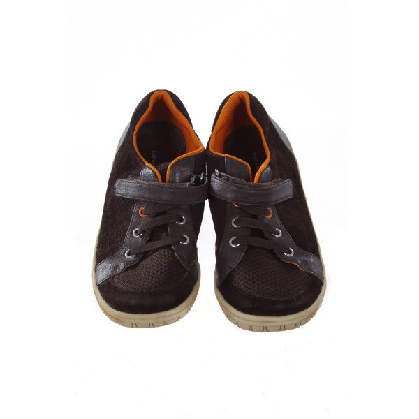 LANDS' END BROWN AND ORANGE SHOES CHILD SIZE 2 *(LIGHT WEAR)