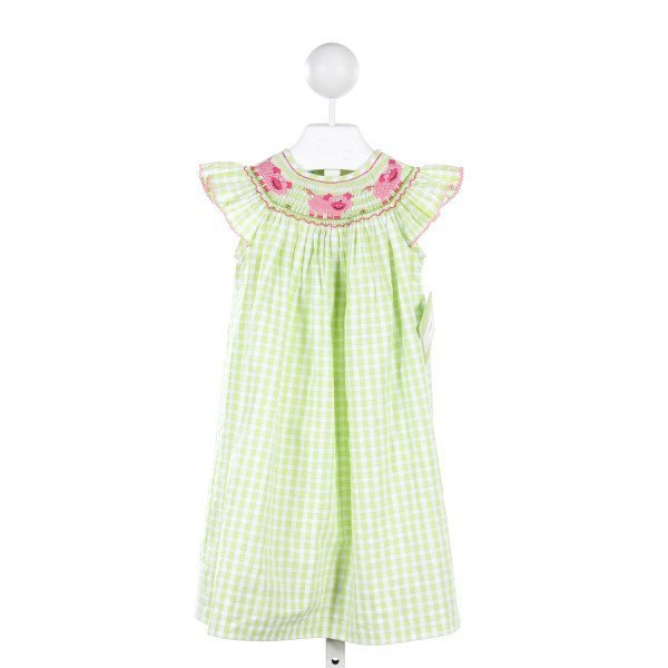 VELANI GREEN CHECKED DRESS WITH PIG SMOCKING