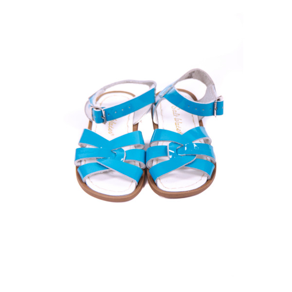 SUN-SANS AQUA PATENT LEATHER SANDALS TODDLER SIZE 10