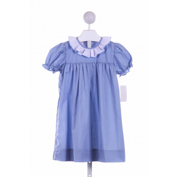 THE SMOCKLING  BLUE  POLKA DOT  DRESS WITH PICOT STITCHING