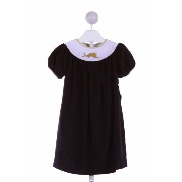 THE SMOCKLING  NAVY POLY CORD  SMOCKED DRESS