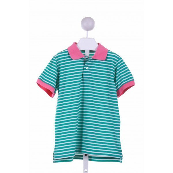 KELLY'S KIDS  GREEN  STRIPED  KNIT SS SHIRT