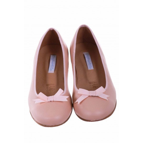 ELEPHANTITO BLUSH LEATHER BALLET FLATS WITH BOW *SIZE 1.5 *NWT
