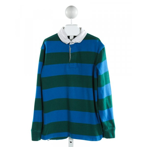 LANDS' END KIDS  BLUE  STRIPED  KNIT LS SHIRT