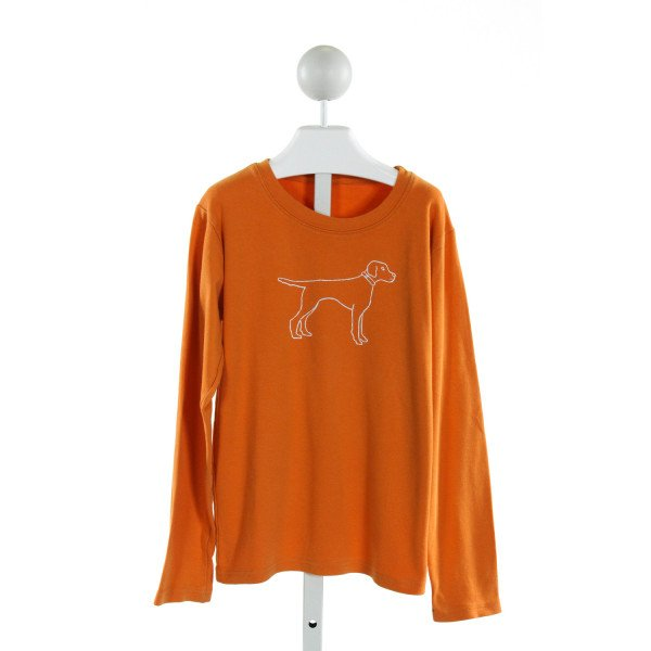 NO TAG  ORANGE   PRINTED DESIGN KNIT LS SHIRT
