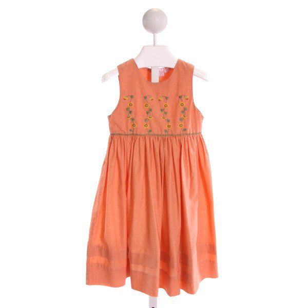 ORIENT EXPRESSED  ORANGE  STRIPED EMBROIDERED DRESS