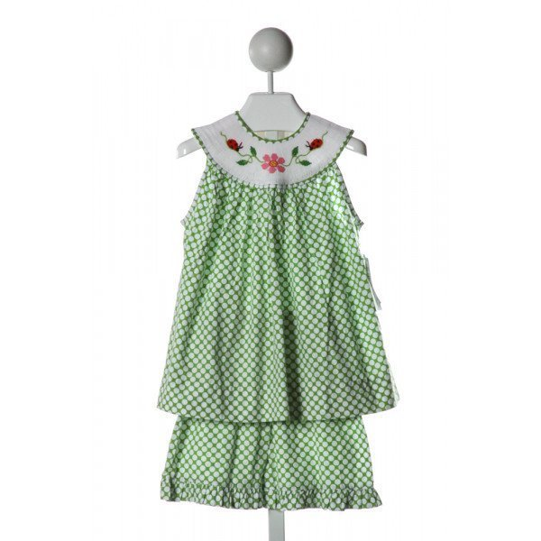 REMEMBER NGUYEN  LT GREEN  POLKA DOT SMOCKED 2-PIECE OUTFIT WITH RUFFLE