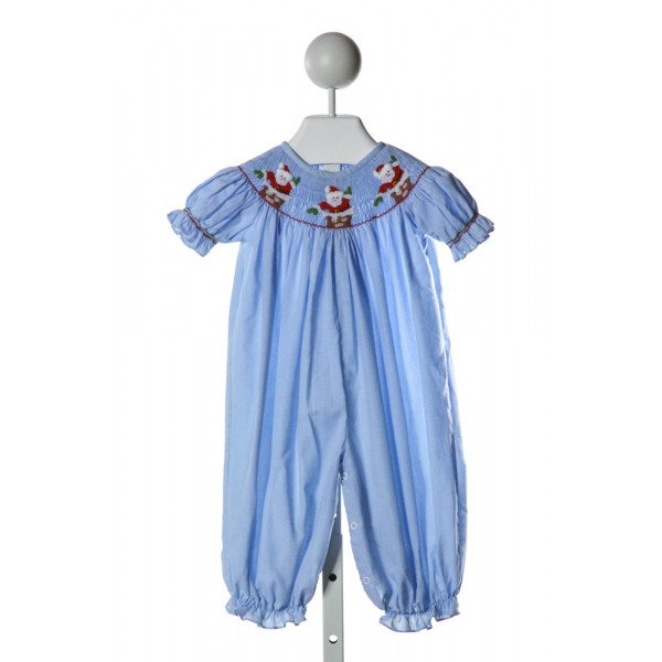 CASTLES & CROWNS  LT BLUE  MICROCHECK SMOCKED ROMPER WITH RUFFLE