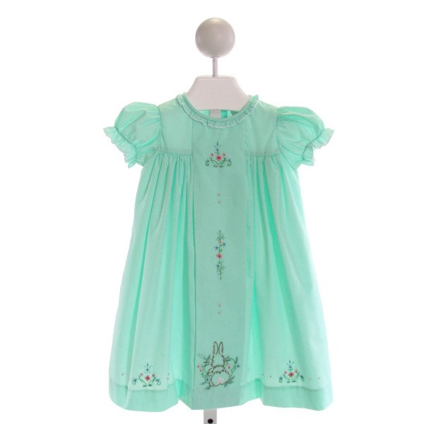THE PROPER PEONY  MINT   EMBROIDERED DRESS WITH RUFFLE