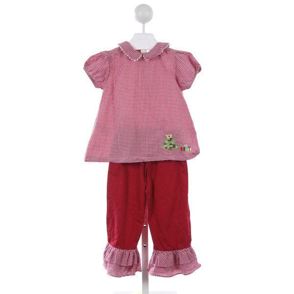LIL CACTUS 2 PIECE RED GINGHAM CHRISTMAS TREE PANT SET