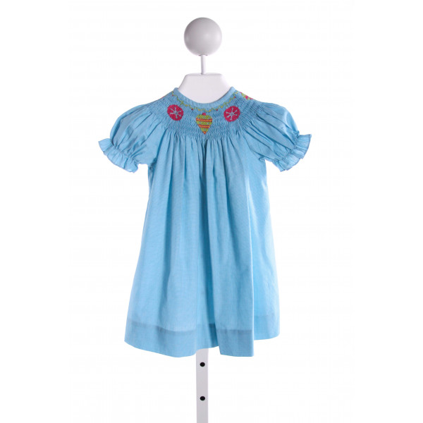 SILLY GOOSE  LT BLUE  MICROCHECK SMOCKED DRESS WITH RUFFLE