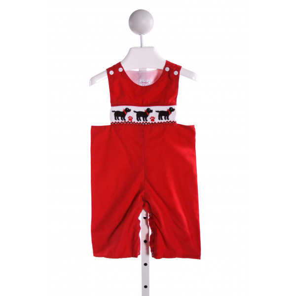 SMOCKED OR NOT  RED   SMOCKED LONGALL/ROMPER