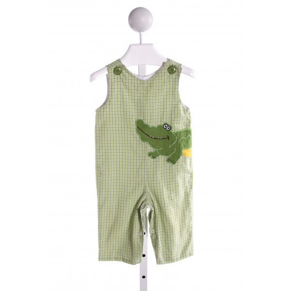 ZUCCINI  GREEN  PLAID EMBROIDERED LONGALL/ROMPER