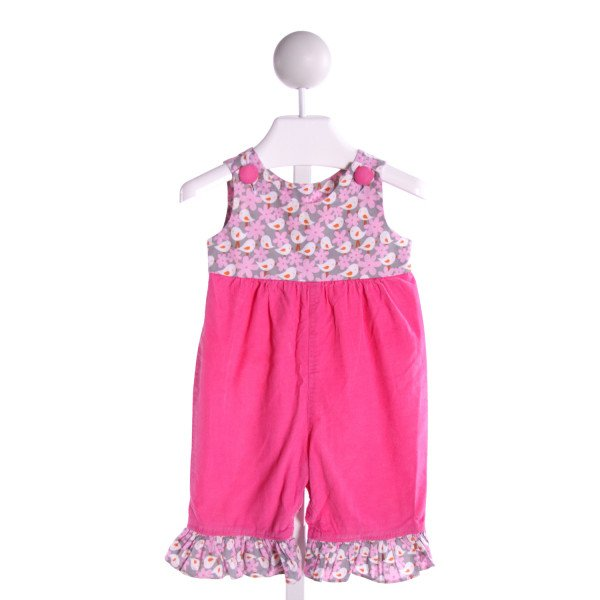 HANNAH KATE  HOT PINK CORDUROY FLORAL  ROMPER WITH RUFFLE